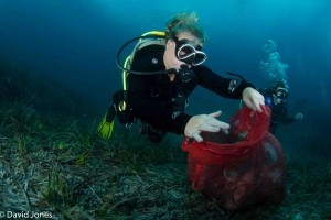 Collecting underwater plastic in Malta