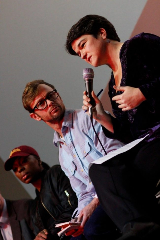 Woman asks a question at the L.A. Premiere of A Plastic Ocean