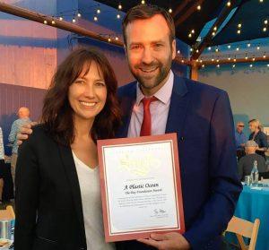 Julie Andersen of Plastic Oceans Foundation and Senator Ben Allen