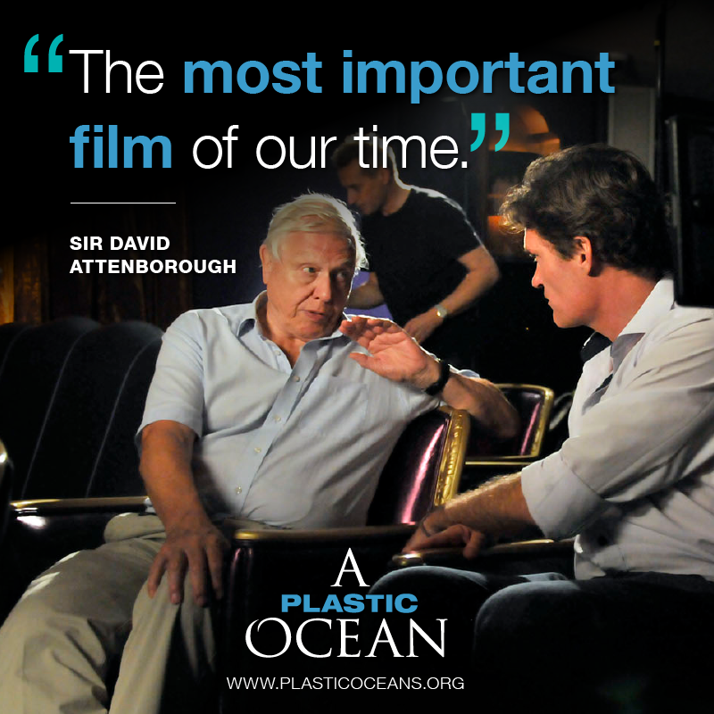 Sir David Attenborough and Craig Leeson on the set of A Plastic Ocean